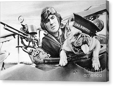 French World War Two Postcard Celebrating The British Bulldog As A Mascot For The Royal Air Force Canvas Print by French School