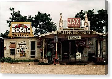 Frenchies Bar And One-pump Gas Station - Melrose, Louisiana  1940 Canvas Print by Daniel Hagerman