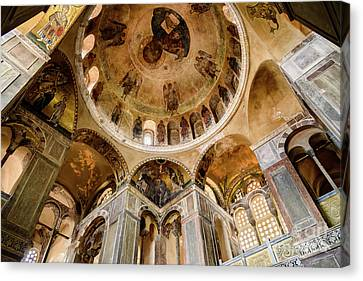 Frescoes And Mosaics Of The Church Of Holy Luke At Monastery Of Hosios Loukas In Greece Canvas Print