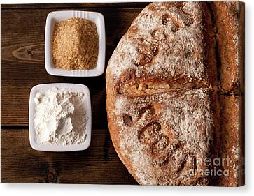 Fresh Baked Rustic Bread  Canvas Print by Simon Bratt Photography LRPS