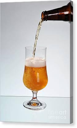 Tankard Canvas Print - Fresh Beer Filling Glass On Stem  by Arletta Cwalina