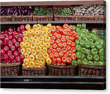 Fresh Bell Peppers At Whole Foods In New Orleans Canvas Print by Sean Gautreaux