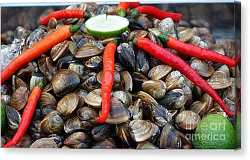 Canvas Print featuring the photograph Fresh Clams With Chilies And Limes by Yali Shi