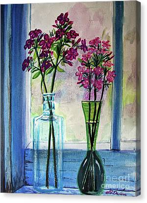 Canvas Print featuring the painting Fresh Cut Flowers In The Window by Patricia L Davidson
