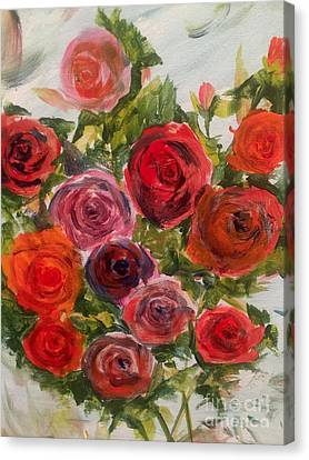 Fresh Cut Roses Canvas Print by Trilby Cole