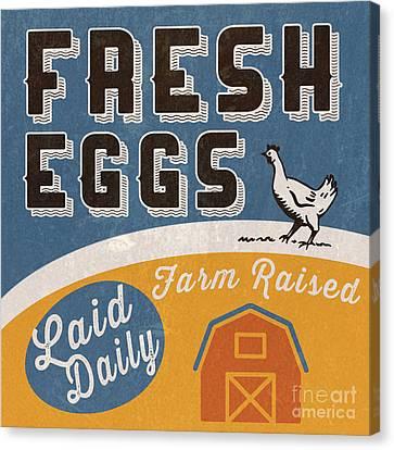 Fresh Eggs Laid Daily Retro Farm Sign Canvas Print by Edward Fielding
