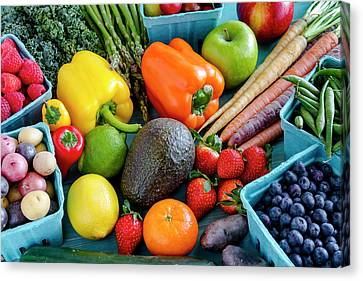 Fresh Fruits And Vegetables Canvas Print by Teri Virbickis