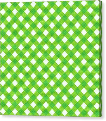 Fresh Green Gingham Fabric Cloth Canvas Print