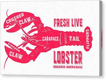 Fresh Live Lobster Vintage Sign Canvas Print