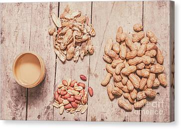 Fresh Peanuts, Shells, Raw Nuts And Peanut Butter Canvas Print by Jorgo Photography - Wall Art Gallery