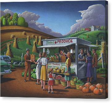 Fresh Produce - Roadside Produce Stand - Vegetables - Fruit Canvas Print by Walt Curlee