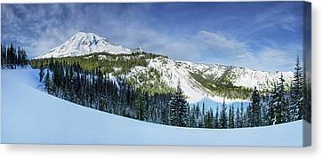 Canvas Print featuring the photograph Fresh Snow At Mount Rainier by Dan Mihai