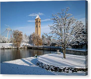 Fresh Snow In Riverfront Park - Spokane Washington Canvas Print by Daniel Hagerman