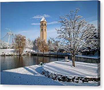Fresh Snow In Riverfront Park - Spokane Washington Canvas Print by Daniel Hagerman