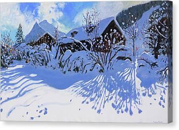 Fresh Snow, Morzine Village Canvas Print by Andrew Macara