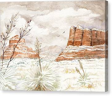 Fresh Snow On Bell Rock Canvas Print by Marilyn Smith