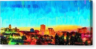 Fresno Skyline 100 - Pa Canvas Print by Leonardo Digenio
