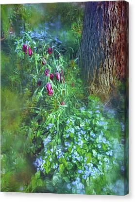 Canvas Print featuring the photograph Fritillaria And Forget-me-nots  by Connie Handscomb