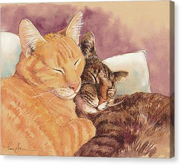 Frick And Frack Take A Nap Canvas Print by Tracie Thompson