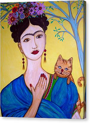 Canvas Print featuring the painting Frida And Her Cat by Pristine Cartera Turkus