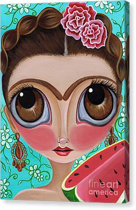Frida And The Watermelon Canvas Print by Jaz Higgins