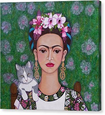 Frida Cat Lover Closer Canvas Print