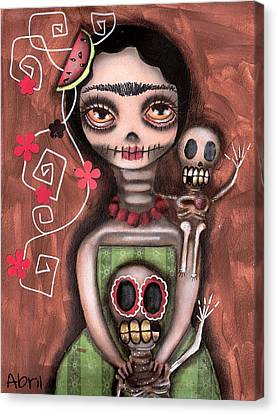 Frida Day Of The Dead Canvas Print by  Abril Andrade Griffith