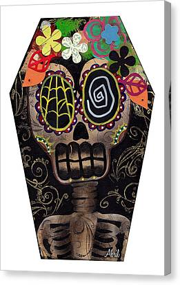 Frida In A Coffin Canvas Print by  Abril Andrade Griffith