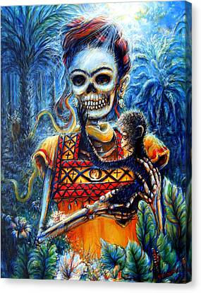 Canvas Print featuring the painting Frida In The Moonlight Garden by Heather Calderon