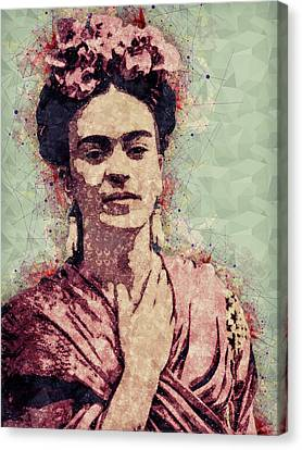 Pop Culture Canvas Print - Frida Kahlo - Contemporary Style Portrait by Studio Grafiikka