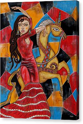 Frida Kahlo Dancing With The Unicorn Canvas Print by Rain Ririn