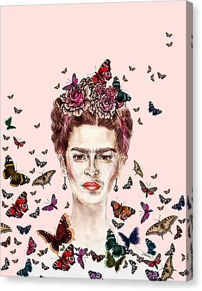 Frida Kahlo Flowers Butterflies Canvas Print by Notsniw Art