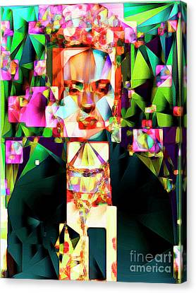 Canvas Print featuring the photograph Frida Kahlo In Abstract Cubism 0170326 V3 by Wingsdomain Art and Photography