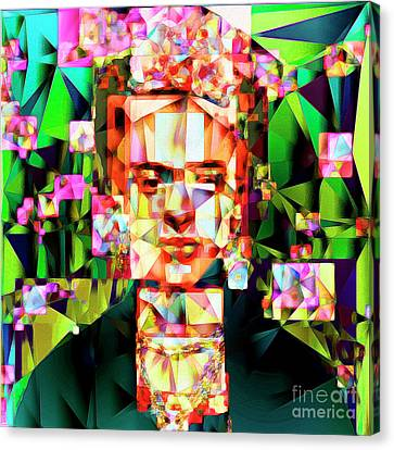 Canvas Print featuring the photograph Frida Kahlo In Abstract Cubism 20170326 V3 Square by Wingsdomain Art and Photography