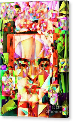 Canvas Print featuring the photograph Frida Kahlo In Abstract Cubism 20170326 V4 by Wingsdomain Art and Photography