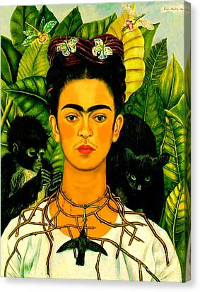 Frida Kahlo Self Portrait With Thorn Necklace And Hummingbird Canvas Print by Pg Reproductions