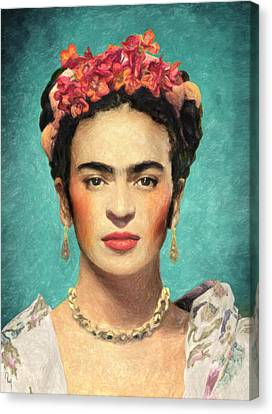 Self-portrait Canvas Print - Frida Kahlo by Taylan Apukovska