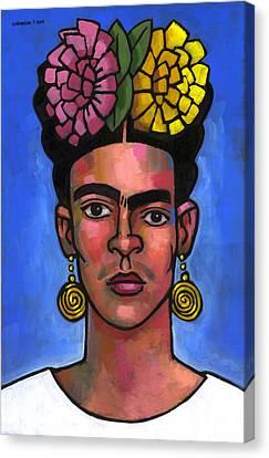 Frida On Blue Background Canvas Print by Douglas Simonson
