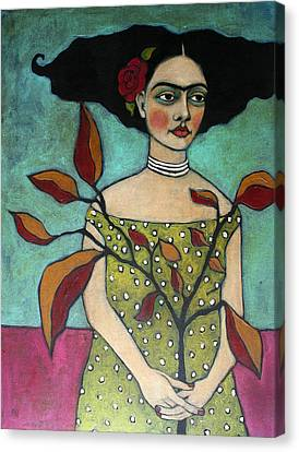 Frida With A Branch Canvas Print by Jane Spakowsky