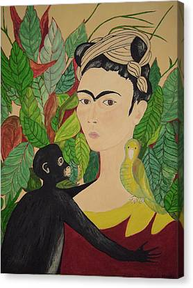 Frida With Monkey And Bird Canvas Print