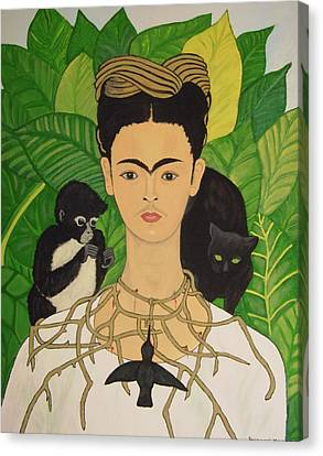 Frida With Monkey And Cat Canvas Print by Stephanie Moore