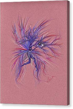 Canvas Print featuring the drawing Friday Blue by Dawn Fairies