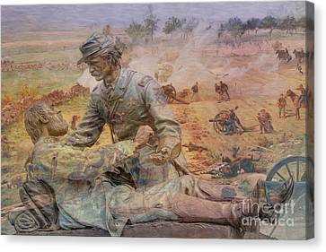 Memorial Canvas Print - Friend To Friend Monument Gettysburg Battlefield by Randy Steele
