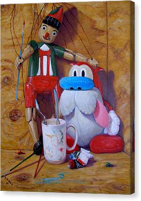 Friends 2  -  Pinocchio And Stimpy   Canvas Print by Donelli  DiMaria
