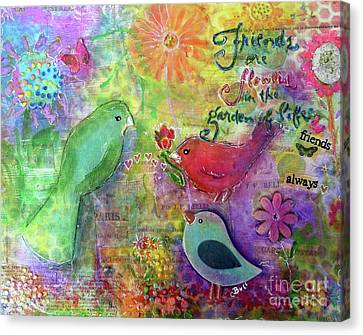 Canvas Print featuring the painting Friends Always Together by Claire Bull