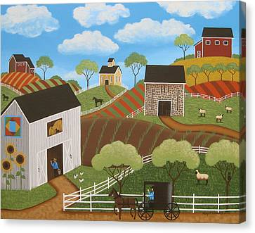 Friends And Neighbors Canvas Print by Mary Charles
