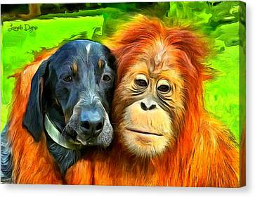 Primate Canvas Print - Friends - Da by Leonardo Digenio
