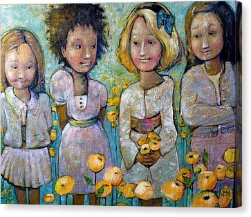 Canvas Print featuring the painting Friends by Eleatta Diver