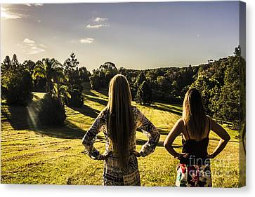 Friends Enjoying A Sunshine Coast Sunset Canvas Print
