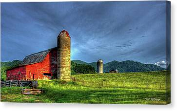 Friends For Life Great Smoky Mountains Red Barn Art Canvas Print by Reid Callaway